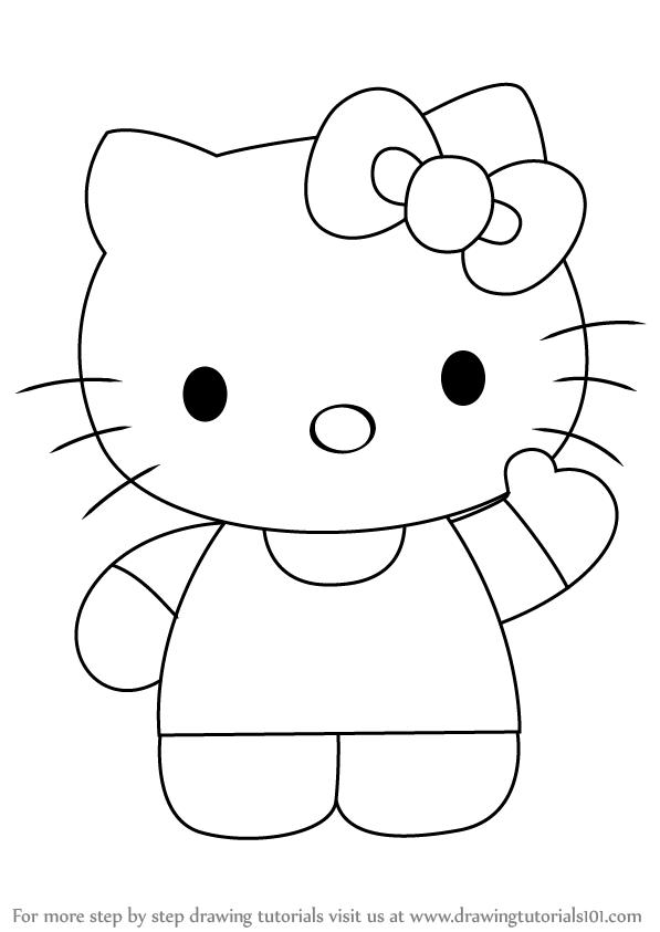 How To Draw Hello Kitty Drawingtutorials101 Com Hello Kitty Drawing Kitty Coloring Kitty Drawing