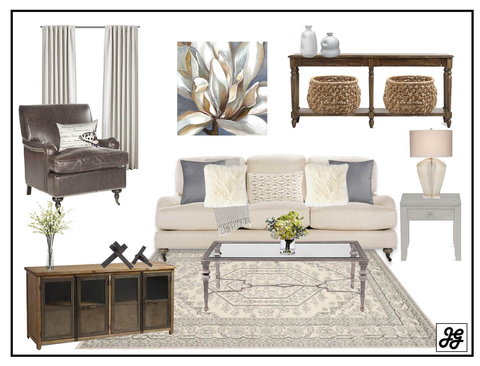 Mood board Eclectic transitional living room. E-design, affordable ...