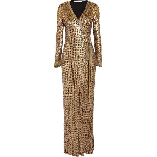 Diane von Furstenberg Ariel Armour sequined stretch-jersey wrap gown ...