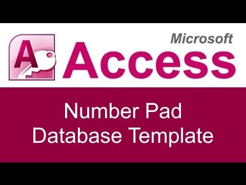 The Microsoft Access Number Pad Database Template Can Be Purchased