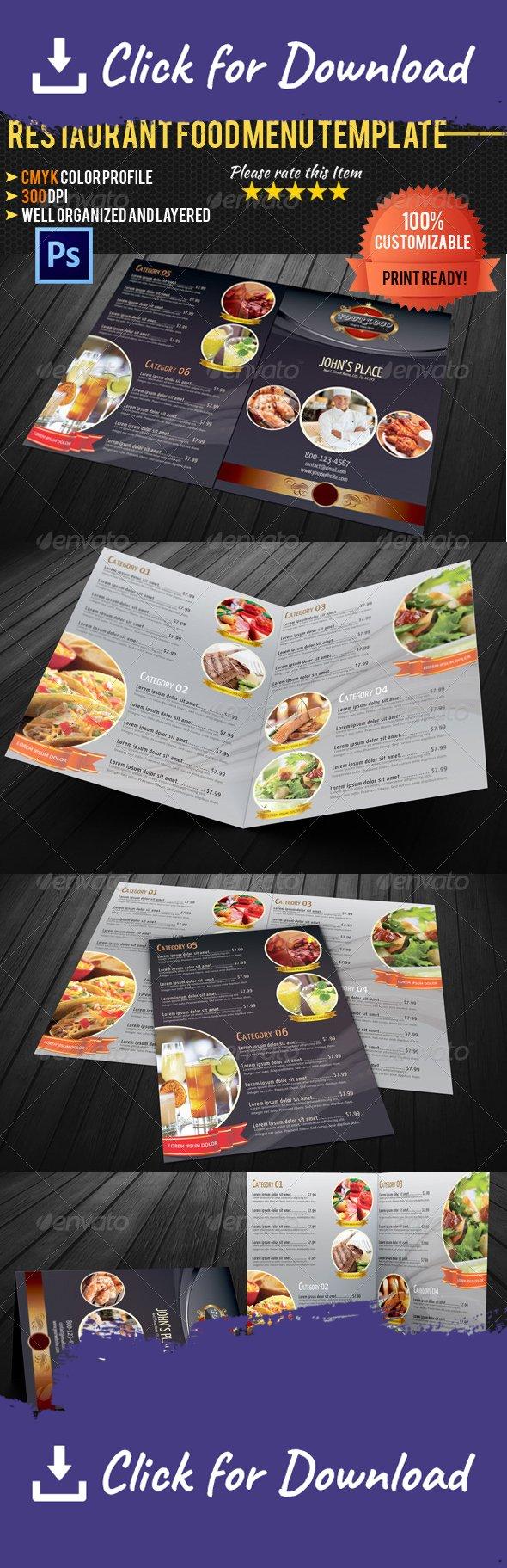 Bi-fold Restaurant Food Menu Template