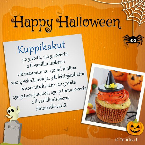 Saat kuppikakuista helposti Halloween-teemaan sopivat värjäämällä kuorrutuksen elintarvikevärillä. #Halloween