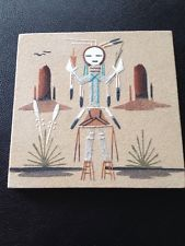 """Framed Navajo Native American Sand Painting """"Yei Male"""" Signed"""