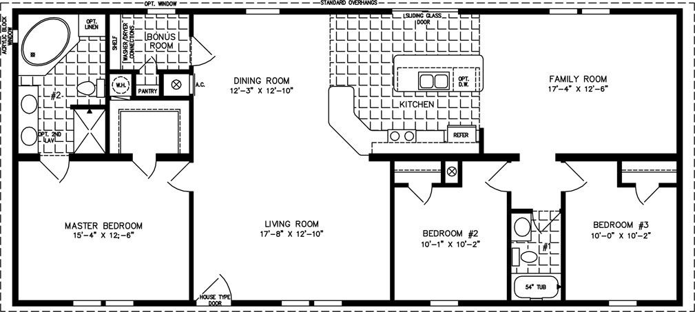 1600 sq ft the tnr 46015b manufactured home floor plan for 1600 square foot house plans