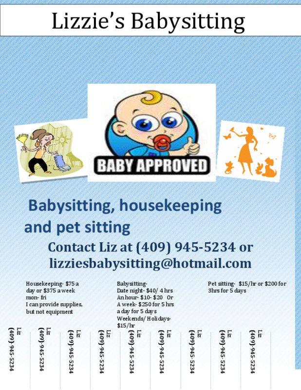 West Texas City Tx Dependable Babysitting Quality Housekeeping