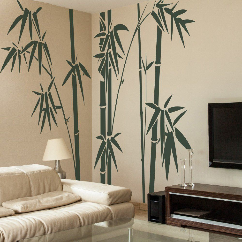 Geckoo Home Decor Family Bamboo Wall Decals Living Room Wall Sticker X Large Dark Green Wall Decals Living Room Wall Stickers Living Room Tree Wall Decor #tree #wall #decal #for #living #room