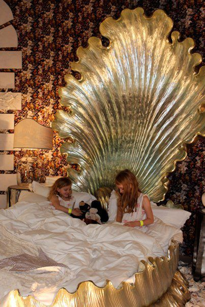 Very Little Mermaid Gold Sea Shell Bed