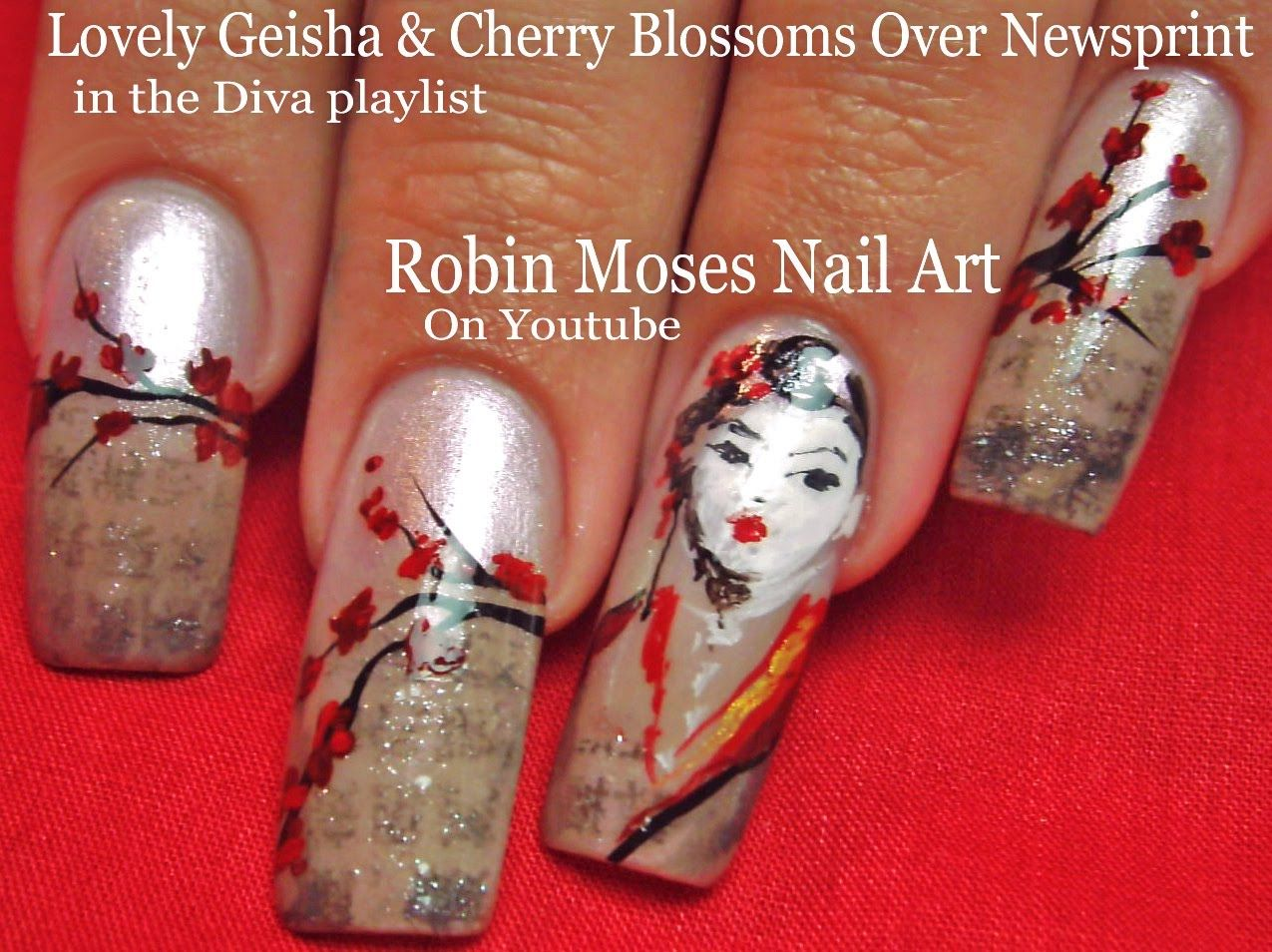 Nail Art | Japanese Geisha Newspaper Nails | Cherry Blossom Nail ...