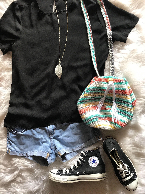 Crochet Pattern Drawstring Bag, The Attica Drawstring Pouch Bag ...