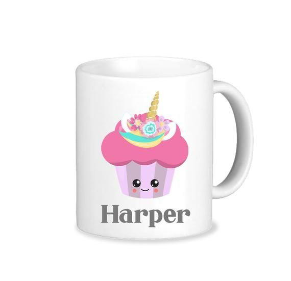 Cupcake Mug - Unicorn Cupcake with Name - Personalized Poly Mug - Custom Mug -  Poly Mug - Kids Cup #custommugs