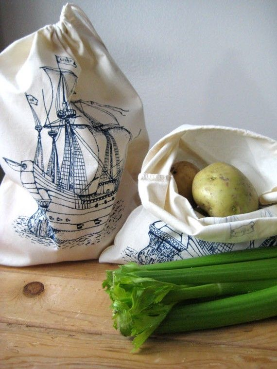 Love these for transporting small projects! Screen Printed Reusable Natural Cotton Ship by ohlittlerabbit, $15.00