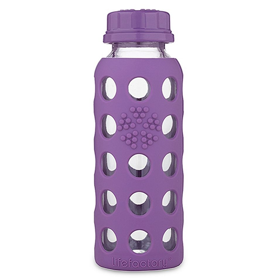 Lifefactory 9 Oz Flat Cap Glass Baby Bottle With Protective Sleeve In Grape Glass Baby Bottles Baby Bottles Glass Water Bottle