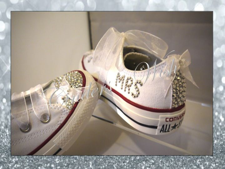 b79175dd151eb The ultimate wedding converse - with silver sparkles and chiffon ...