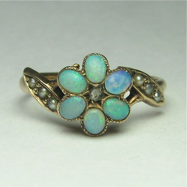 Laura's lifeintheknife on Ruby Lane: Antique Victorian 10K Gold Opal Diamond Seed Pearl Ring