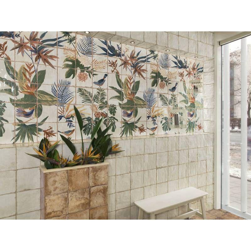 Carrelage mural décor végétal tropical style rétro LI009003 en 2020 | Carrelage mural, Parement ...