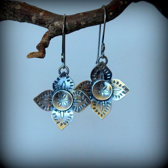 Sterling Flower Earrings mendhi pattern dangle french by Petaluna
