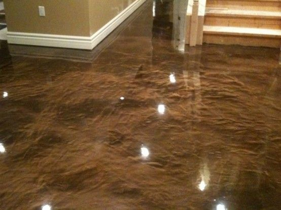 Stain concrete floors indoors pictures stained concrete for Basement bathroom flooring ideas