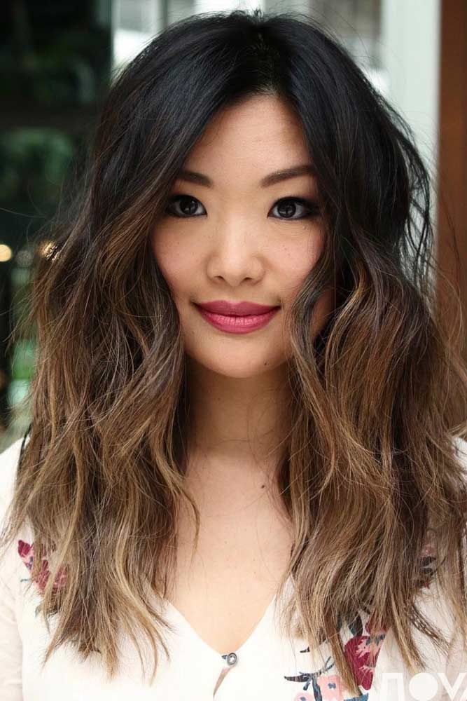 Light Brown Balayage Asian