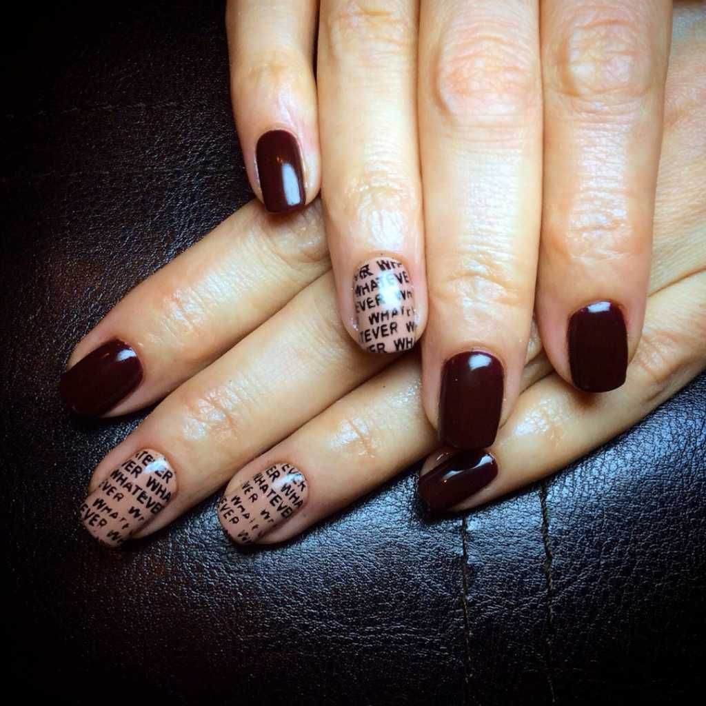 Newspaper print nail design in dark colors :: one1lady.com :: #nail ...
