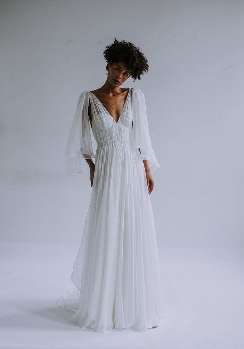 325f9d5bb1e light ivory feather weight silk chiffon grecian draped gown over structured  foundation bustier bodice. Removable scarf sleeve detail.