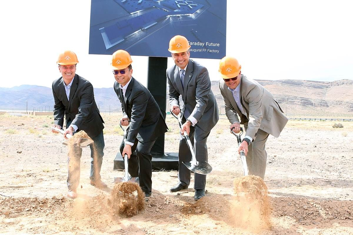 The California-based automotive start-up Faraday Future this week broke ground on what's to be a $1 billion assembly plant rising from the desert.