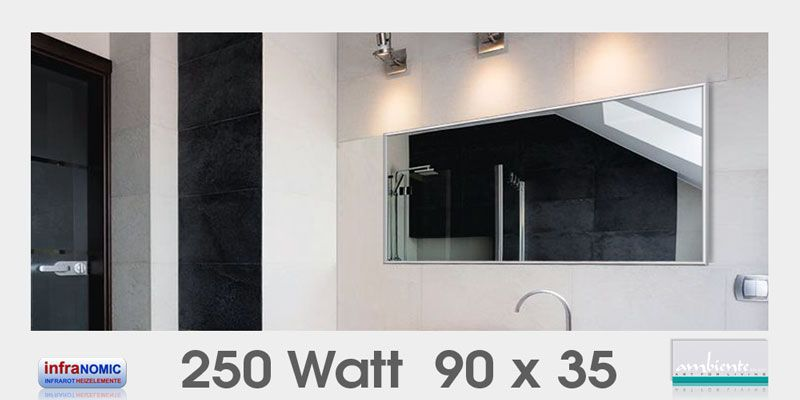 Infrarot Spiegelheizungen 250 Watt 90x35 Spiegelheizung