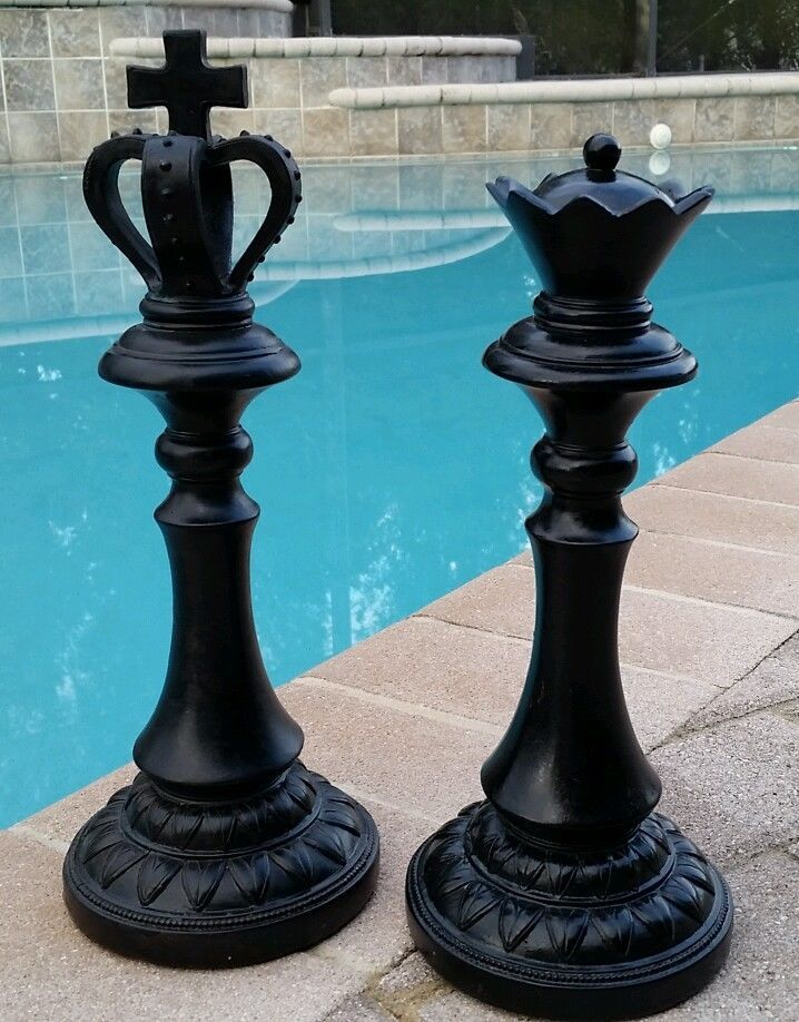 NEW Set of Large 13 KING QUEEN Chess Piece Distressed Modern