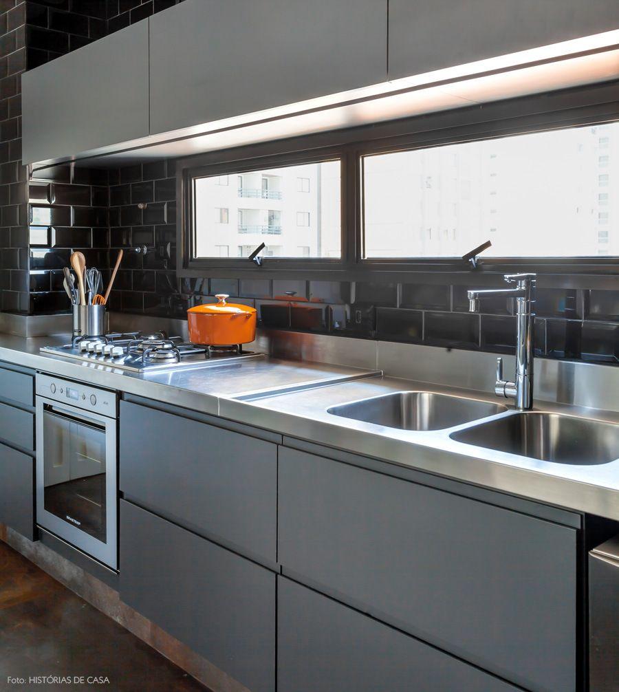 Decoracao cinza industrial historiasdecasa 900 for Isla cocina industrial