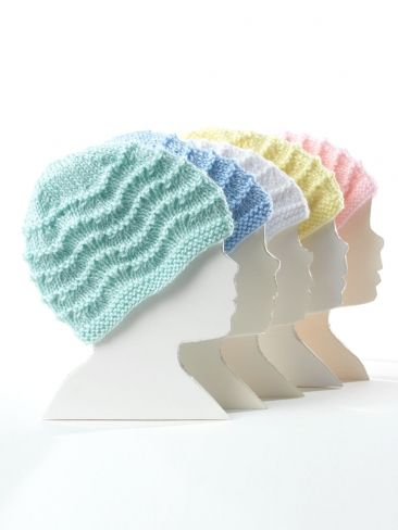 Free Pattern - Warm lacy  knit baby hats size Preemie through 18 months. 5ae272dafded