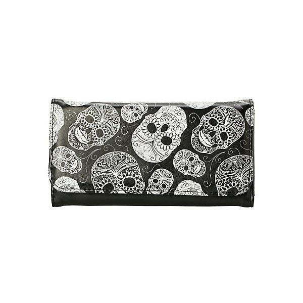 Black & White Sugar Skull Flap Wallet | Hot Topic ($7.13) ❤ liked on Polyvore featuring bags, wallets, snap wallet, skull bag, black and white bag, black and white wallet and snap closure wallet