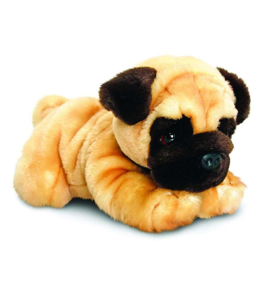 Realistic Pug Stuffed Animal, Soft Plush Dog Toy Realistic Pug Stuffed Pet Toddlers Kids Adults Cuddly Gift Mops