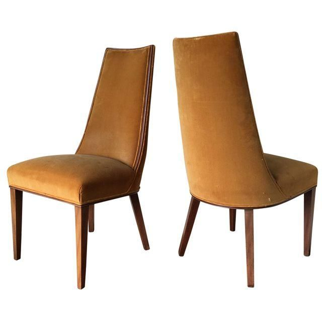 Image Of Round High Back Chairs In Goldenrod   A Pair