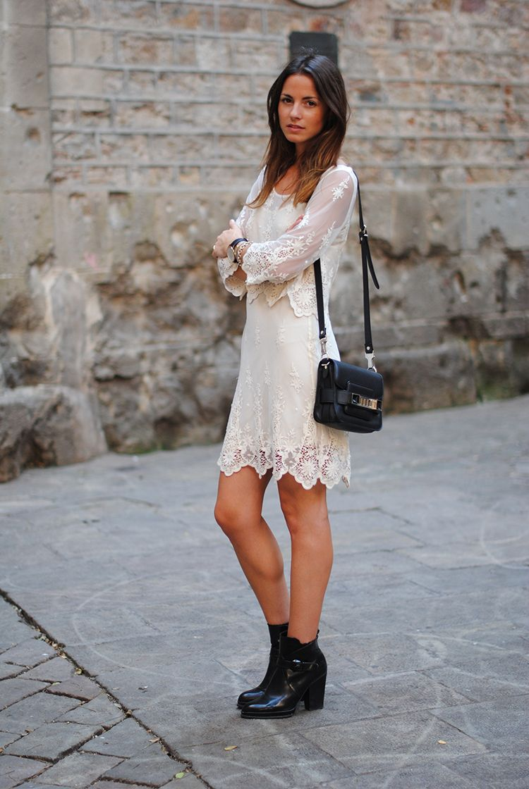 white dress with boots