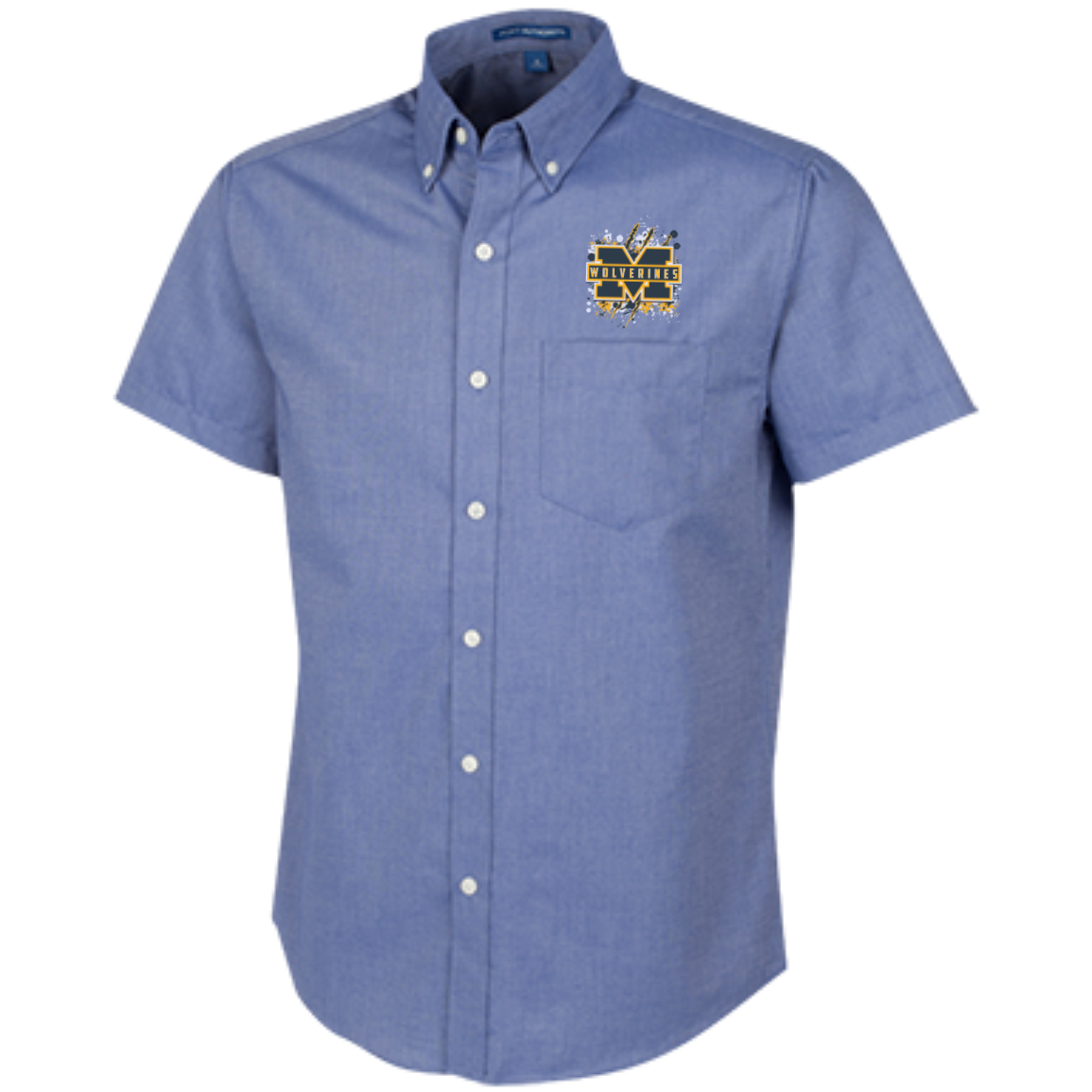 Michigan Wolverines Splatter Logo Men's Short Sleeve Oxford Shirt