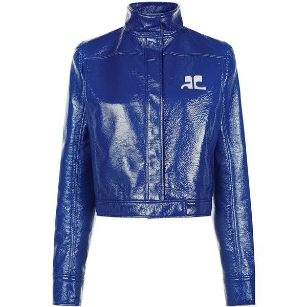 Courreges Blue Vinyl Cropped Zip Jacket 940 Liked On Polyvore Featuring Outerwear Jackets Cropped Cropped Biker Jacket Stand Collar Jackets Flap Jacket