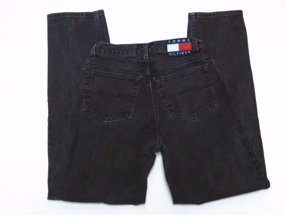 ec34d96f Mens Tommy Hilfiger Jeans 30x34 Flag Freedom Spellout Vintage Black Denim  USA #TommyHilfiger #RelaxedFit