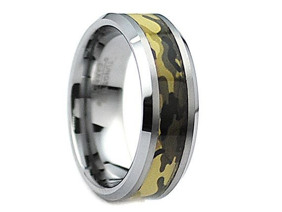 Cepheus Tungsten Ring Green Forest Army Military Camouflage Design Inlay 8mm - Select Wedding Rings