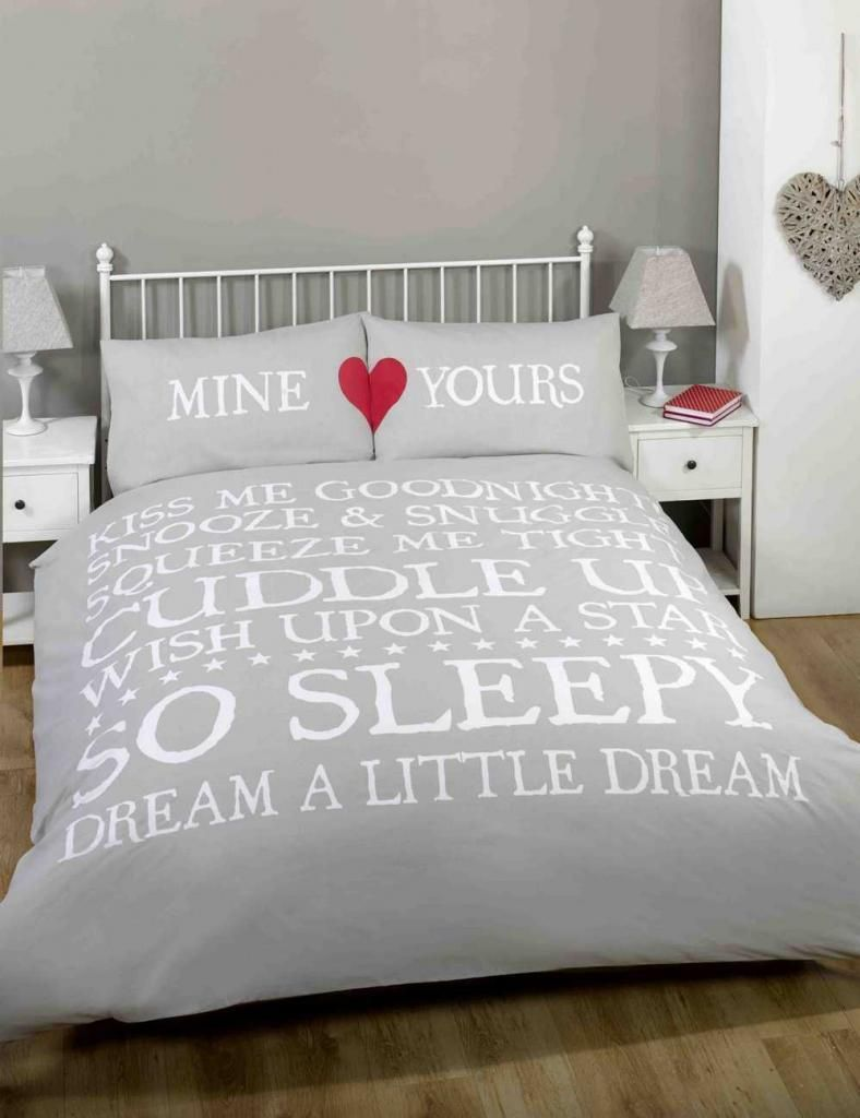 Mine Yours Love Hearts Cute Grey Double Bedding Bed Set Duvet