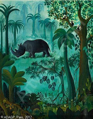 Scherfig Hans Rhinoceros In The Jungle Bruun Rasmussen Copenhagen Kunstnere Naesehorn Dyr