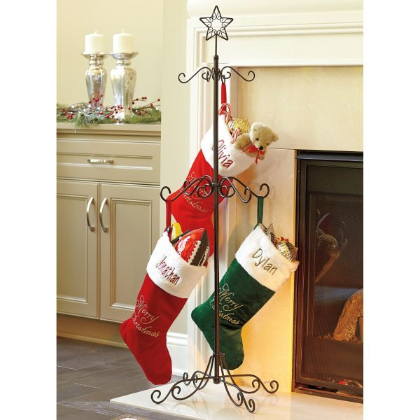 Metal Scroll Christmas Tree Stocking Holder Tree Stand In Black Or Gold  Color