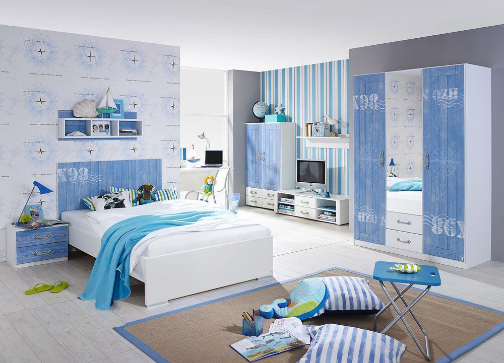 Jugendzimmer 3-tlg. in Alpinweiß m. Absetzungen in Blau ...