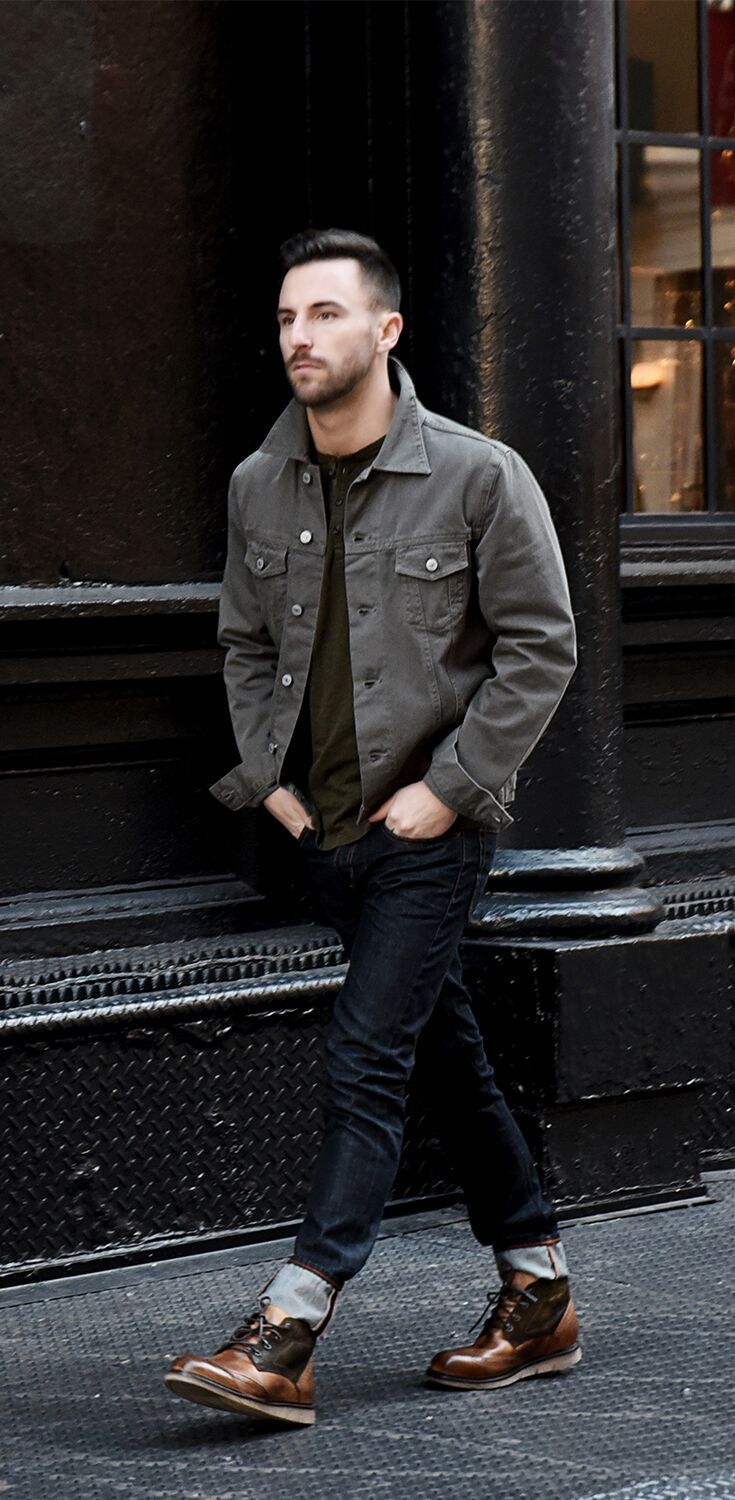 Men S Fashion Styling With A Grey Jacket And Cuffed Dark Denim Jeans Paired With Tan Worker Boot By Bedstu Mens Fashion Denim Mens Fashion Jeans Mens Outfits [ 1500 x 735 Pixel ]