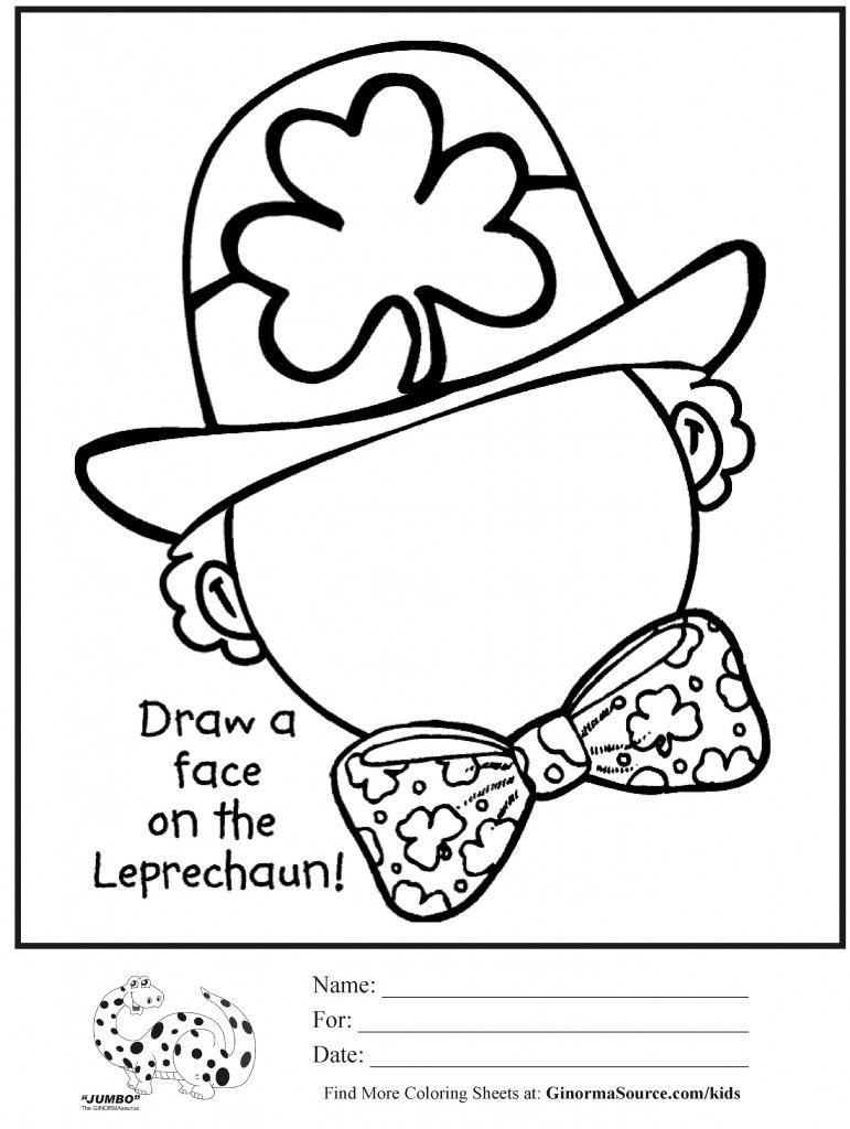 Coloring Page St Patricks Day Draw Face Leprechaun St Patrick