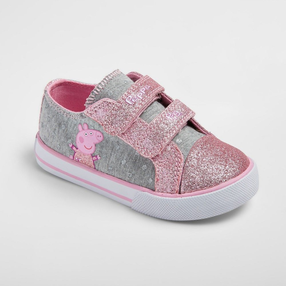 Toddler Girls' Peppa Pig Low Top Canvas Sneakers 7 Gray