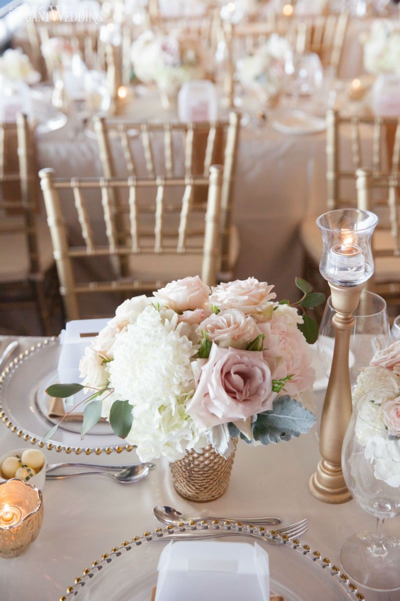 Slate blue wedding decor  Soft blush pink and gold wedding flowers and decor wedding table