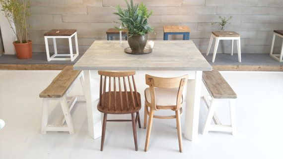 Reclaimed Wood Plank Table On A Square 'rumbus' Base  110X120Cm Amusing Plank Dining Room Table Decorating Inspiration