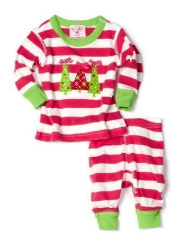 New Mud Pie Triple Tree Long Johns 0-6 Months Christmas Girl s Pajamas   MudPie  2piece 3a0fae15a