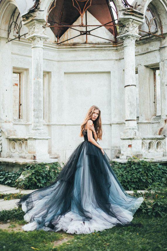 Vestido novia tul negro