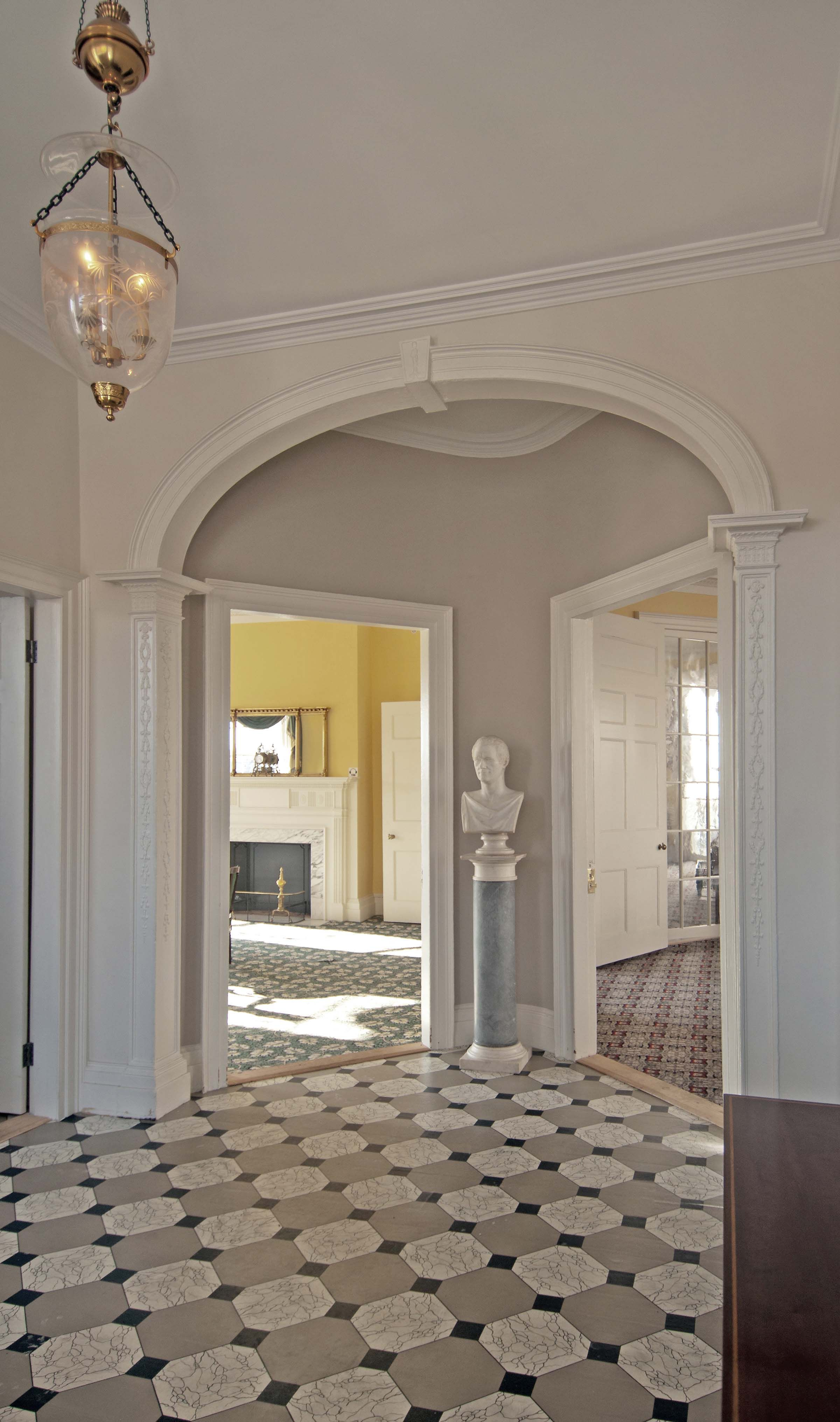 As the Entrance Hall shows, Hamilton Grange, designed by New York City Hall architect John McComb, is architecturally very ambitious for such a small house. National Park Service Photographer Kevin Daley