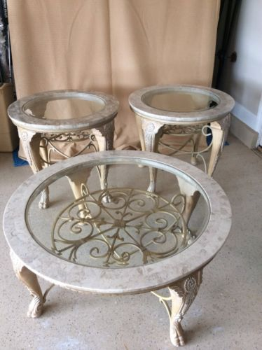 Round Coffee Table And End Tables Wood Glass Iron 40 X18 And 28 X 25 1 2 More Wood